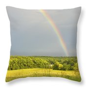 Rainbow Over Hay Field In Maine Throw Pillow