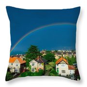 Rainbow Over Housing, Monkstown, Co Throw Pillow