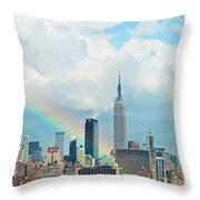 Rainbow Over Manhattan Throw Pillow