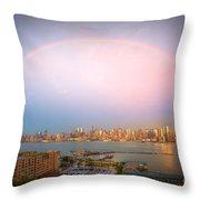 Rainbow Over New York City II Throw Pillow