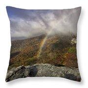 Rainbow Over Rough Ridge - Nc Autumn Scene Throw Pillow
