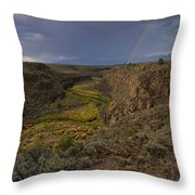 Rainbow Over The Rio Pueblo Throw Pillow by Ron Cline
