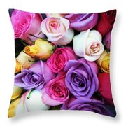 Rainbow Rose Bouquet Throw Pillow
