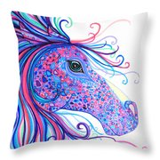 Rainbow Spotted Horse Throw Pillow