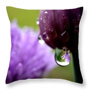 Raindrops On Chives Throw Pillow