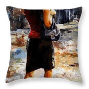 Rainy Day - Woman Of New York 04 Throw Pillow