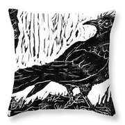 Rainy Day Crow Throw Pillow