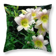 Rainy Day Day Lilies Throw Pillow