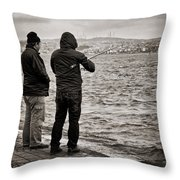 Rainy Day Fishing Throw Pillow