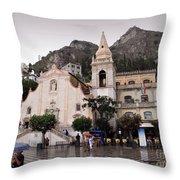 Rainy Day In Taormina Throw Pillow