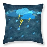 Rainy Day With Storm And Thunder Throw Pillow