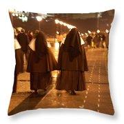 Rainy Night Nuns Throw Pillow