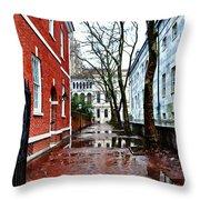 Rainy Philadelphia Alley Throw Pillow by Bill Cannon