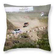 Rally Racing Excitement Throw Pillow