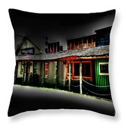 Ranch Buildings - Black Throw Pillow