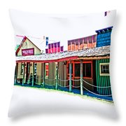 Ranch Buildings - Hdr White Throw Pillow