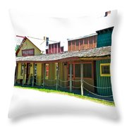 Ranch Buildings - White Throw Pillow