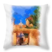 Ranchos Church Gate - Aquarell Throw Pillow