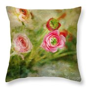 Ranunculus Painterly Throw Pillow