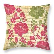 Raspberry Sorbet Floral 2 Throw Pillow