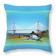 Ravanel Bridge At Patriot Point Charleston Sc Throw Pillow