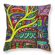 Raven Spirit Tree Totem Goddess Throw Pillow
