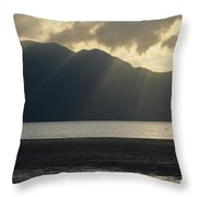 Rays Of Sunlight Through Clouds Throw Pillow