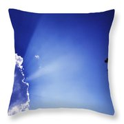 Rays Of Sunshine With Cloud And Cross Throw Pillow