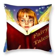Read More Fairy Tales Throw Pillow by Nada Meeks