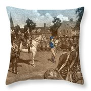 Reading The Declaration Of Independence Throw Pillow by Photo Researchers