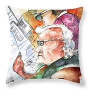 Reading The News 07 Throw Pillow