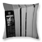 Reading With Dick In Black And White Throw Pillow