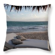 Ready To Relax On A Tropical Beach Throw Pillow by Karen Lee Ensley