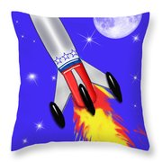 Really Cool Rocket In Space Throw Pillow