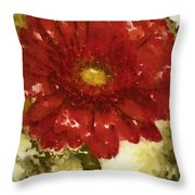 Really Red Posey Throw Pillow