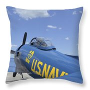Rear View Of A F8f Bearcat Parked Throw Pillow