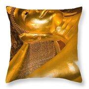 Reclining Buddha At Wat Pho, Low Angle Throw Pillow