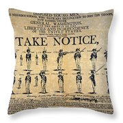 Recruiting Broadside, C1798 Throw Pillow