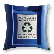 Recycling Bin Throw Pillow by Photo Researchers, Inc.