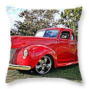 Red 1940 Ford Deluxe Coupe Throw Pillow