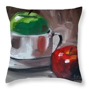 Red And Green Apples Throw Pillow by Samantha Black