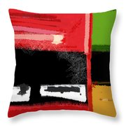 Red And Green Square Throw Pillow