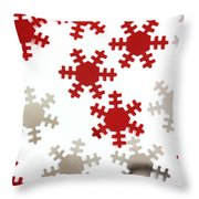Red And Silver Snowflakes Throw Pillow