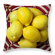 Red And White Basket Full Of Lemons Throw Pillow by Garry Gay