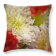 Red And White Mums Photoart Throw Pillow