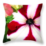 Red And White Petunia Throw Pillow