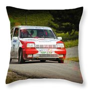 Red And White Renault 5 Throw Pillow