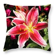 Red And White Tiger Lily Throw Pillow