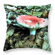 Red And White Wild Mushroom Throw Pillow