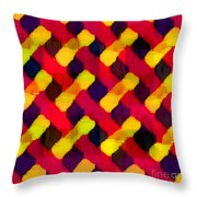 Red And Yellow Basketweave Bias Throw Pillow
